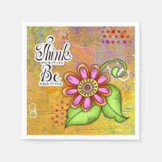 Bliss Positive Thought Doodle Flower Napkin Disposable Napkins