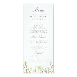 "Blissful Branches Wedding Dinner Menu 4"" X 9.25"" Invitation Card"