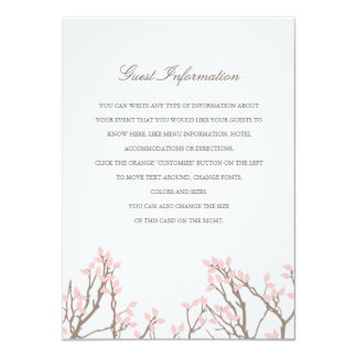 "Blissful Branches Wedding Insert 4.5"" X 6.25"" Invitation Card"
