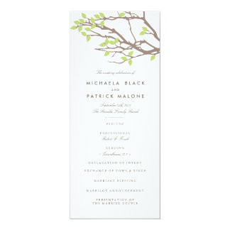 "Blissful Branches Wedding Program 4"" X 9.25"" Invitation Card"