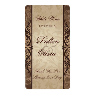 Blissful Brocade Brown Wedding Wine Label Shipping Label