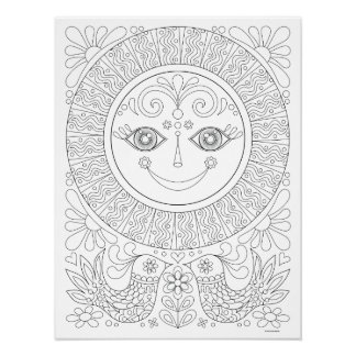 Blissful Sun Coloring Poster - Colorable Art