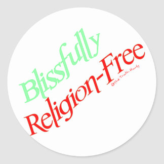 Blissfully Religion-Free Classic Round Sticker