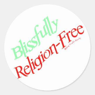 Blissfully Religion-Free Round Sticker