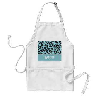 Blizzard Blue Leopard Animal Print; Personalized Standard Apron