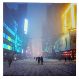 Blizzard In Times Square Tile