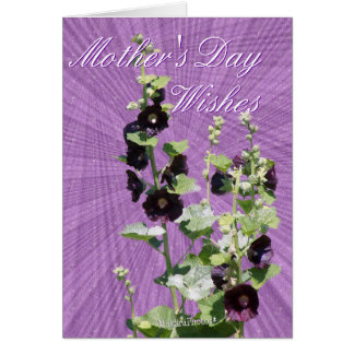 Blk Hollyhock Mother's day-customize any occasion Card