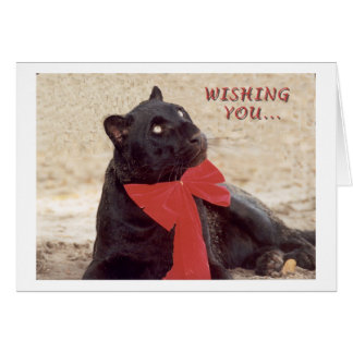 Blk Leopard holiday bow Card