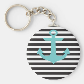 blk_stripes_Teal_Anchor.ai Basic Round Button Keychain