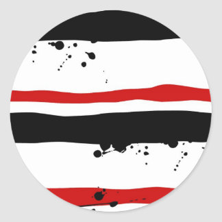 BLK WHT RED STRIPE CLASSIC ROUND STICKER