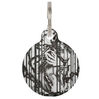 Blk&Wht Tiger Abstract Pet Tags