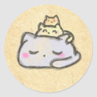blobcat group classic round sticker