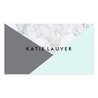 Bloc gris turquoise de marbre blanc moderne de carte de visite standard