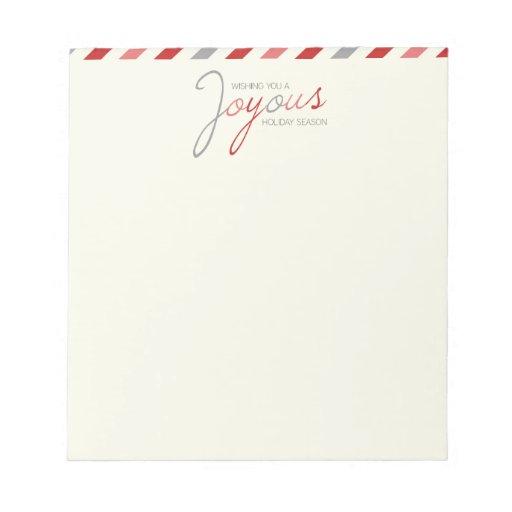 Bloc - notes de fête de rayure joyeuse de sucrerie bloc-notes