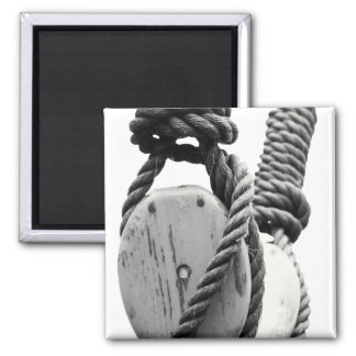 Block and tackle of old sailing ship fridge magnet
