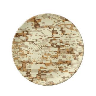 Block desert camouflage porcelain plate