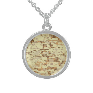 Block desert camouflage sterling silver necklace