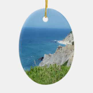 Block Island Bluffs - Block Island, Rhode Island Ceramic Ornament