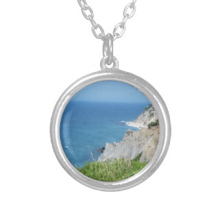 Block Island Bluffs - Block Island, Rhode Island Silver Plated Necklace