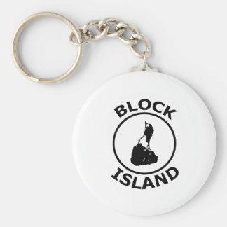 Block Island Shape Inside Circle Basic Round Button Keychain
