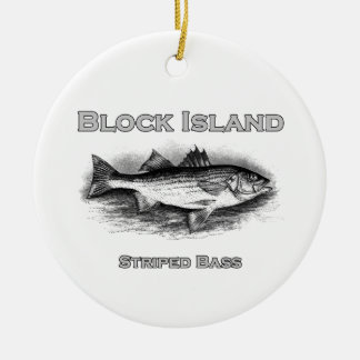 Block Island Vintage Striped Bass Logo Ceramic Ornament