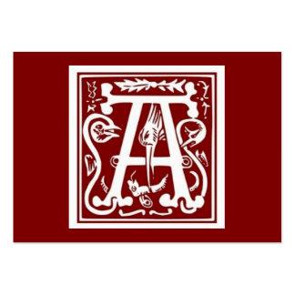 "Block Letter ""A"" Woodcut Woodblock Inital Large Business Card"