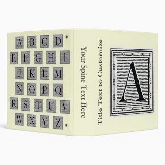 "Block Letter ""A"" Woodcut Woodblock Initial 3 Ring Binders"