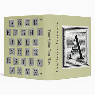 "Block Letter ""A"" Woodcut Woodblock Initial Vinyl Binder"
