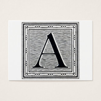 """Block Letter """"A"""" Woodcut Woodblock Initial Business Card"""