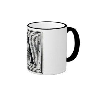 """Block Letter """"A"""" Woodcut Woodblock Initial Mug"""