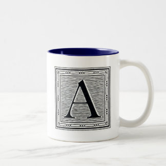 "Block Letter ""A"" Woodcut Woodblock Initial Two-Tone Coffee Mug"