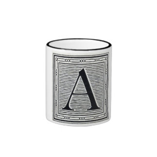 "Block Letter ""A"" Woodcut Woodblock Initial Ringer Coffee Mug"