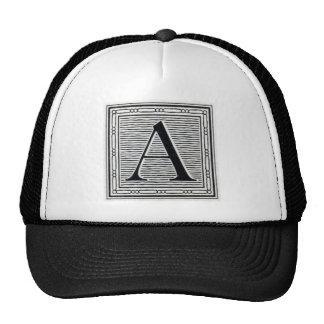 "Block Letter ""A"" Woodcut Woodblock Initial Trucker Hat"