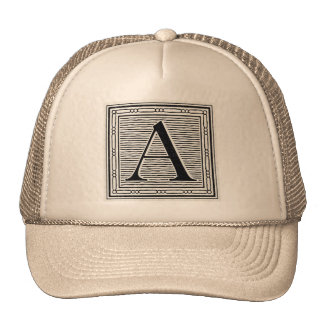 "Block Letter ""A"" Woodcut Woodblock Initial Trucker Hat"