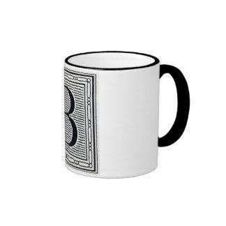 """Block Letter """"B"""" Woodcut Woodblock Inital Coffee Mug"""
