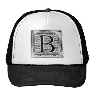 "Block Letter ""B"" Woodcut Woodblock Inital Trucker Hat"