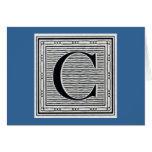 """Block Letter """"C"""" Woodcut Woodblock Inital"""