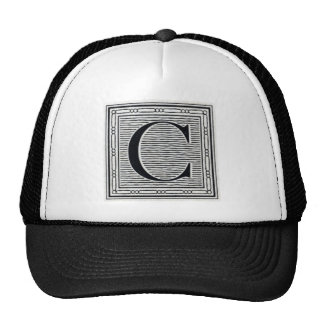 "Block Letter ""C"" Woodcut Woodblock Inital Trucker Hat"