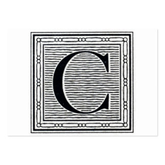 "Block Letter ""C"" Woodcut Woodblock Initial Large Business Card"