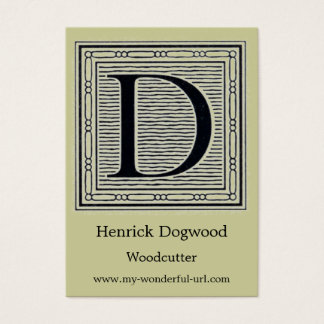 "Block Letter ""D"" Woodcut Woodblock Initial Business Card"