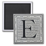 """Block Letter """"E"""" Woodcut Woodblock Inital Magnet"""