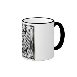 """Block Letter """"E"""" Woodcut Woodblock Inital Coffee Mugs"""