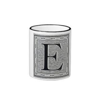 """Block Letter """"E"""" Woodcut Woodblock Inital Ringer Mug"""