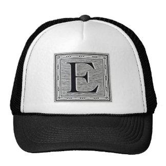 """Block Letter """"E"""" Woodcut Woodblock Inital Trucker Hat"""