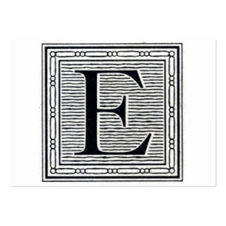 """Block Letter """"E"""" Woodcut Woodblock Initial Large Business Card"""