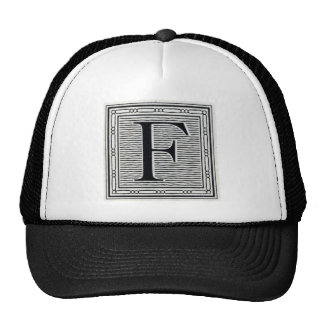 "Block Letter ""F"" Woodcut Woodblock Inital Trucker Hat"