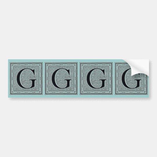 "Block Letter ""G"" Woodcut Woodblock Inital Bumper Sticker"
