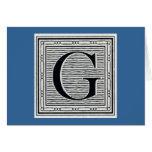 """Block Letter """"G"""" Woodcut Woodblock Inital Cards"""