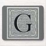 """Block Letter """"G"""" Woodcut Woodblock Inital Mousepads"""