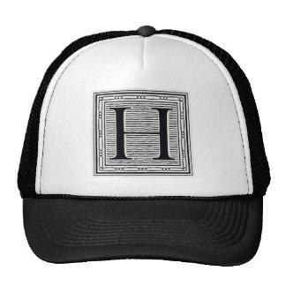 """Block Letter """"H"""" Woodcut Woodblock Inital Trucker Hat"""